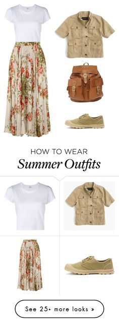 """Floral Skirt & Sneakers"" by tomato88 on Polyvore featuring RE/DONE, Gucci, Palladium and J.Crew"
