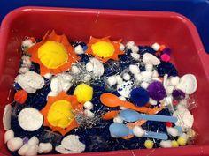 Preschool fun, weather sensory Table