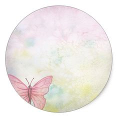 Shop Pink Pastel Butterfly Thank You Baby Shower Classic Round Sticker created by BabyCreations. Flower Background Wallpaper, Flower Phone Wallpaper, Flower Backgrounds, Paper Flower Wreaths, Paper Flowers, Flores Vintage Png, Butterfly Art, Button Art, Flower Frame