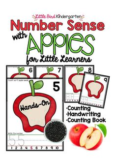 Cutest center! Hands-on counting mats with handwriting practice too! (Use BLACK BEANS as apple seeds! & for the counting books too!!