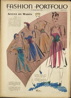 Australian Women's Weekly (1940), fashion illustration, accent on waists, 1940s fashion