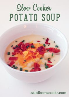 Slow Cooker Potato Soup. Ingredients:      4 large potatoes, peeled and diced     1 Tbs. butter     32 oz chicken broth     enough water to cover potatoes     salt and pepper, to taste     12 oz can evaporated milk     bacon, cheddar, chives to top, optional