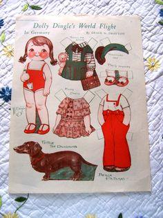 Vintage Aug 1932 Grace Drayton Paper Doll Dolly Dingle's World Flight Germany | eBay