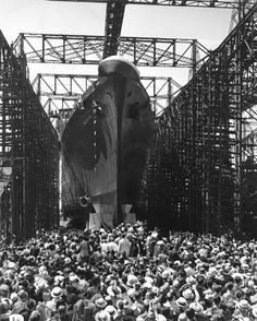 Pictures: Newport News Shipbuilding launched the landmark passenger liner SS America 75 years ago, drawing international attention for what was then the largest merchant ship ever built in America. http://bit.ly/1tOQWfA -- Mark St. John Erickson
