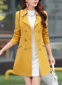 There is always many products on sae upto - Women office formal coat Blend Warm Long Coat Plus Size Female Slim Fit Lapel Overcoat Autumn Winter long Outerwear - eTrendings Fashion Wear, Fashion Outfits, Fashion Trends, Fashion 2018, Coats For Women, Jackets For Women, Formal Coat, Fall Jackets, Fall Coats