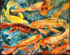 "Koi Fish Carp art Painting 16x20"" gallery wrapped canvas, deep teal, orange emberglow coral"