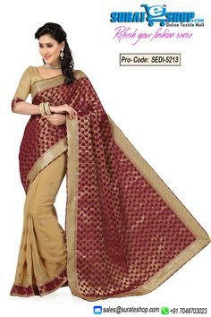 Be The Sunshine Of Anyone'S Eyes Dressed In This Gorgeous Beige & Wine Art Silk, Chiffon, Jacquard Saree. The Desirable Lace, Patch Work, Stones Work Throughout The Attire Is Awe-Inspiring. Paired With A Contrast Beige Art Silk Blouse  Visit : http://surateshop.com/product-details.php?cid=2_26_66&pid=7501&mid=0