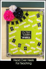Head Over Heels For Teaching: Spark Student Motivation: Meet the Teacher....battery-op twinkling lights & rhinestones glued to pushpins!!!