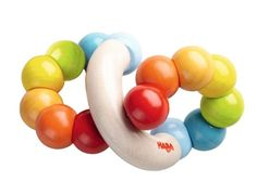 Your little one will have fun with HABA's Wooden Color Whorl Clutching Toy! The secure wooden balls can be manipulated by your baby for movement and fun activity! Made in Germany of Maple and Beech Wo
