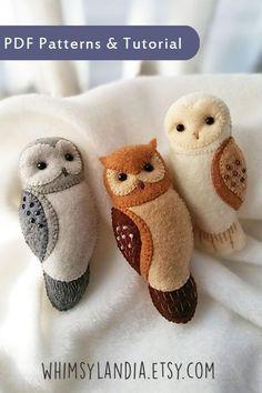 Set of 3 PDF Patterns of Felt Owl Brooches Bundled Set | Etsy Owl Sewing Patterns, Felt Crafts Patterns, Fabric Crafts, Felt Ornaments Patterns, Paper Crafts, Felt Owls, Felt Birds, Felt Animals, Felt Christmas Ornaments