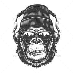Buy Gorilla Head in Monochrome Style by imogi on GraphicRiver. Gorilla head in monochrome style in headphones and beanie. Gorilla Tattoo, Tatuaje Bull Terrier, Microphone Icon, Flame Tattoos, Bear Silhouette, Monochrome Fashion, Vector Design, Flyer Design, Graffiti Art