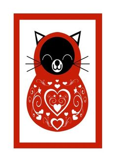 I've been loving matroyshka dolls and I think the cat doll is charming