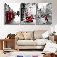 [Unframed] 3 Pcs Foggy Building Red Bus Car Art Canvas Picture Prints Home Decor #ChenxiGlobal #Modernism