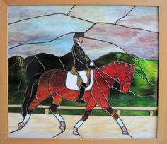 Dressage -- Stained glass equestrian artwork