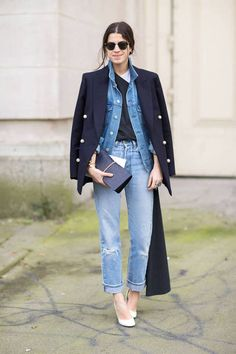 Custom dark jacket over casual blue denim | The Man Repeller street style #fashion