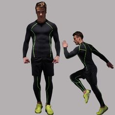 Summer running suit men  fitness three - piece breathable stretch tights gym raining clothes