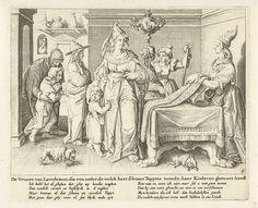 Zacharias Dolendo | Een vrouw uit Lacedemon toont haar kinderen aan een tapijtenweefster, Zacharias Dolendo, Jacob de Gheyn (II), Claes Jansz. Visscher (II), after 1615 - before c. 1652 | Een vrouw afkomstig uit Lacedemon komt bij een tapijtenweefster die haar de mooiste tapijten toont. De vrouw toont de tapijtenweefster wederom het mooiste wat zij bezit, haar kinderen. In de verkoopruimte zijn nog andere klanten aanwezig. Twee vrouwen praten met elkaar en een man helpt een jongetje naar…