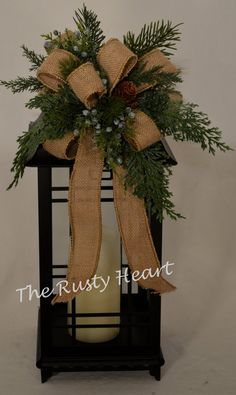 Christmas Lantern Swag with Burlap Ribbon di TheRustyHeart su Etsy Country Christmas, All Things Christmas, Winter Christmas, Christmas Home, Christmas Wreaths, Christmas Ornaments, Burlap Christmas, Christmas Arrangements, Christmas Centerpieces