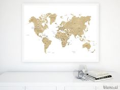 ★ Current turnaround for custom items: please see policies tab or shipping tab ★ Digital printable poster, golden fake glitter world map with white