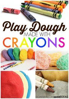 All the best crayon play dough recipe ideas for using crayons to make play dough Easy Diy Crafts, Diy Arts And Crafts, Diy Crafts For Kids, Fun Crafts, Sensory Play Recipes, Playdough Activities, Activities For Kids, Making Crayons, Broken Crayons