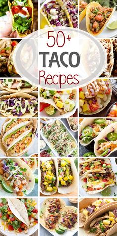 50+ Taco Recipes ~ From Soft shell, hard shell, flour, corn, chicken, fish, shrimp, beef  the variations are never ending! Everyone will find something to love with these delicious Taco recipes! via @julieseats