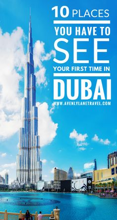 Top 10 Things to Do & See in Dubai!  Dubai is one of the most up and coming tourist destinations in the world!  From visiting the Burj Khalifa, the tallest building in the world to exploring the largest mall in the world at the Dubai Mall!  The beaches, Dubai fountains,  and the Dubai Miracle Gardens are just a few of some of the top places to visit in Dubai!  Avenlylanetravel.com | #dubai #desert #travel #middleeast #avenlylanetravel