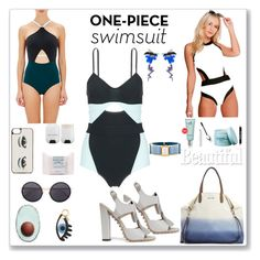 """The One-Piece Swimsuit - 2"" by ludmyla-stoyan ❤ liked on Polyvore featuring Flagpole Swim, Boohoo, The BrowGal By Tonya Crooks, Balenciaga, e.l.f., Dirty Grl, Tod's, Iphoria, Linda Farrow and Australian Bodycare"