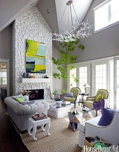 Lastest Home Design. Getting Bored With Your Home? Use These Interior Planning Ideas. There are many simple ways to learn about decorating your space. Living Room Furniture Layout, Living Room Designs, Living Room Decor, Home Design, Design Design, Design Ideas, White Stone Fireplaces, Fireplace Stone, Sala Vintage