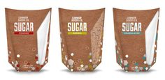 Packaging and Branding design focusing on creating a smaller more structured packaged for sugar. Packaging Design, Branding Design, Packaging Ideas, Sugar Packaging, Art Deco Font, Brown, Candy, Healthy, Sweet