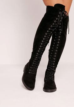 Missguided - Flat Lace Up Over The Knee Boots Black