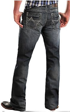 Rock & Roll Cowboy Dark Stonewash Double Barrel Relaxed Fit Boot Cut Jeans... Ooooo baby ;)