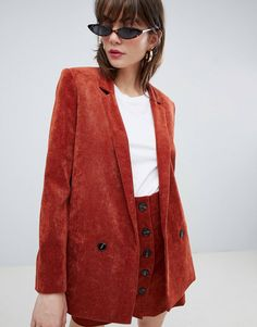 Shop ASOS DESIGN blazer in cord. With a variety of delivery, payment and return options available, shopping with ASOS is easy and secure. Shop with ASOS today. 1980s Fashion Trends, Fashion 101, Fashion Advice, Trendy Fashion, Cheap Fashion, Fashion Online, Asos, Jean Paul Gaultier, Blazer Fashion