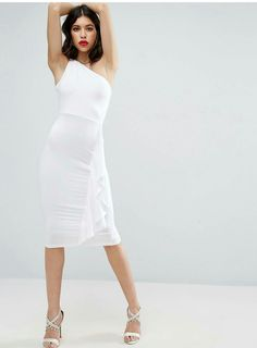 White pencil dress one shoulder knot side ruffles