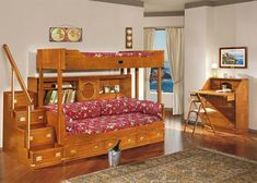 Traditional Wooden Bunk Beds Design with Oak Bookshelves and Storages beside Simple Stairs