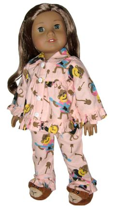 The pink flannel pajamas have a guitar-playing monkey print in dark pink, tan, and turquoise. The top closes with velcro and has decorative buttons. The pants have an elastic waist. Slippers sold separately.  sillymonkey