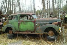 There are over 100 cars from the '20s and '30s currently in the yard. Shown here is a '39 Chevy.