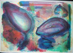 Jörg Reme Abstrakte Komposition Handsigniert Lithographie auf Karton 1989