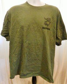 USMC Marine Corps Tshirt Security Battalion Instructor 100% Cotton Green Size XL #Gildan #EmbellishedTee