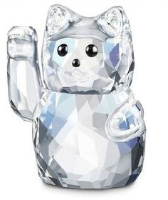 Lucky Cat - Swarovski Lucky Symbols.  Swarovski Crystal Figurine.