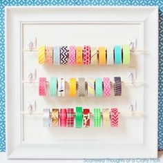 Need a fabulous way to organize and display all your gorgeous washi tape?  Come see how to make this oh so pretty washi tape holder.