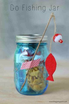 Best DIY Gifts in Mason Jars - Go Fishing Mason Jar Gift - Cute Mason Jar Crafts and Recipe Ideas that Make Great DIY Christmas Presents for Friends and Family - Gifts for Her, Him, Mom and Dad - Gifts in A Jar That Are Easy, Quick and Cheap http://diyjoy.com/best-diy-mason-jar-gifts