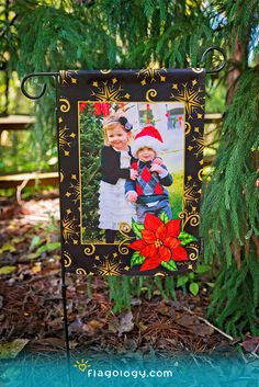 Share your holiday photo on a garden flag! Choose from gorgeous artist designs you can personalize online in minutes. Makes an excellent photo gift!