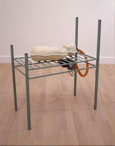 """""""Bed and Bean Boy"""", 1995, Lilla LoCurto; Bill Outcault, American (b. Venezula, 1949); American (b. 1949), steel, rubber, motor and tubing, 44 x 18 x 39 in. Gift of Dr. Alfred M. Prince, 2001. 2001.27.a.b.c"""