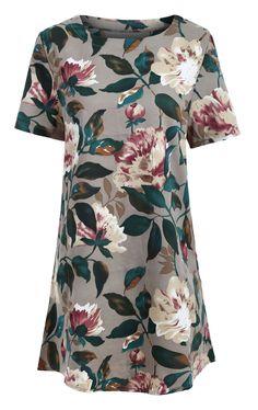 Floral Print Pocket Shift Tunic T-shirt Dress