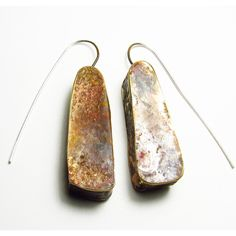 Earrings - Roxy Lentz - Half hollow, repurposed silver plate, raw patina, about 1 inch long, 1/2 inch wide.