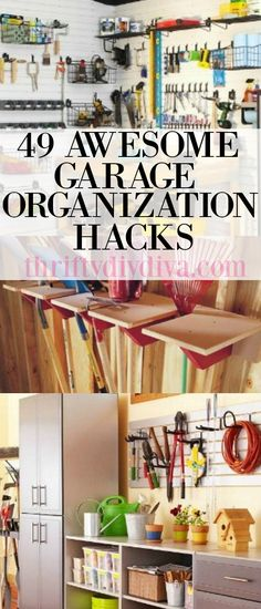 """49 Garage Organization Hacks Tips and Tricks! For most, the garage is mostly a storage for """"stuff"""" – but with these garage organization hacks, you might actually be able to park your car in it! Garage, ideas, man cave, workshop, organization, organize, home, house, indoor, storage, woodwork, design, tool, mechanic, auto, shelving, car."""