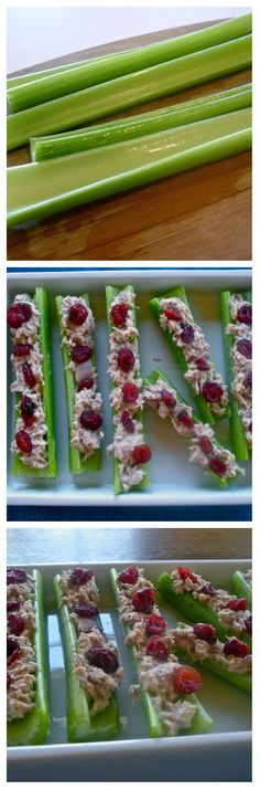 "Tuna Salad Celery Logs are meant to be a take on "" Ants on a log"". These are a healthy summer lunch. Low Carb Recipes, Snack Recipes, Cooking Recipes, Healthy Recipes, Healthy Treats, Healthy Eating, Brunch, Tuna Salad, Chicken Salad"