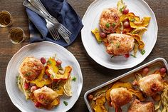 Sheet-Pan Cumin Chicken Thighs With Squash, Fennel, and Grapes recipe