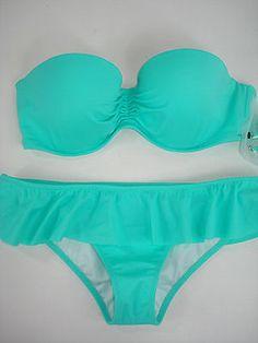 Victoria Secret Swim Suit Bikini Bottom Top Bandeau Aqua Seafoam 36DD/M NEW