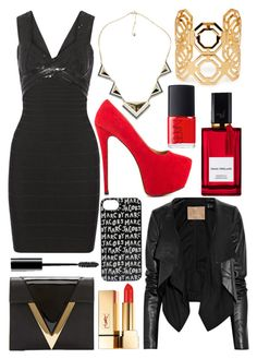 """""""black, gold and red"""" by enjoyrosa ❤ liked on Polyvore featuring Hervé Léger, Versus, Max Azria, Yves Saint Laurent, Marc by Marc Jacobs, Luichiny, Chicnova Fashion, Forever 21, Diana Vreeland Parfums and NARS Cosmetics"""